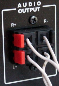 Example of subwoofer wire terminals