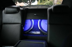 The sound system from inside the vehicle